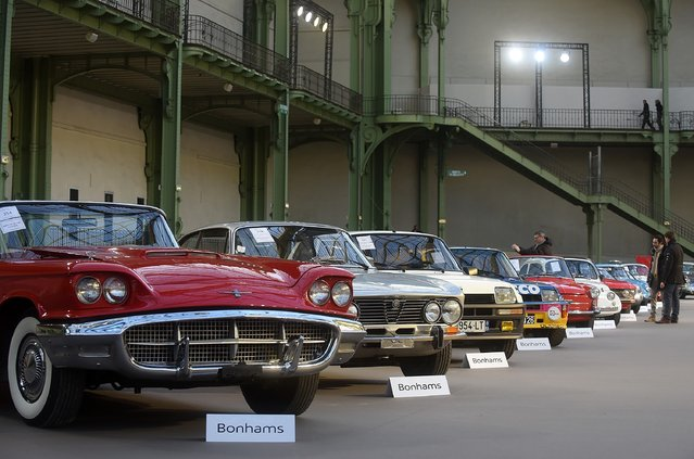 Vintage cars and motorbikes are displayed during an exhibition, by Bonhams auction house, at Le Grand Palais on February 5, 2015 in Paris, France. (Photo by Antoine Antoniol/Getty Images)