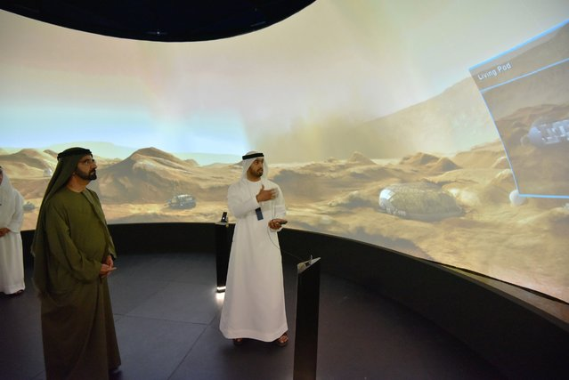 Sheikh Mohammed bin Rashid Al Maktoum (3rd L), Vice-President and Prime Minister of the United Arab Emirates and ruler of Dubai, is seen during the inauguration of The Museum of Future Government Services, at the Government Summit in Dubai February 8, 2015. (Photo by Reuters/Prime Minister Media Office)