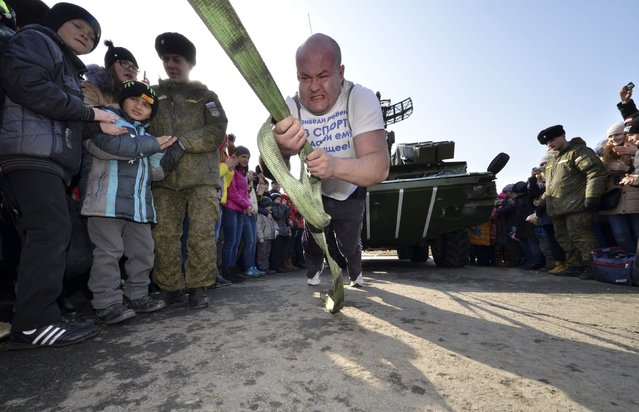 Athlete and powerlifter Ivan Savkin pulls an armored vehicle, which weighs about 17 tons, during celebrations for the Defender of the Fatherland Day in the far eastern city of Vladivostok February 23, 2015. (Photo by Yuri Maltsev/Reuters)