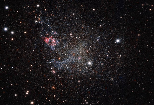This handout image released by the European Southern Observatory on January 25, 2016 and captured with the OmegaCAM camera on ESO's VLT Survey Telescope in Chile, shows an unusually clean small galaxy. IC 1613 contains very little cosmic dust, allowing astronomers to explore its contents with great clarity. (Photo by AFP Photo/European Southern Observatory)