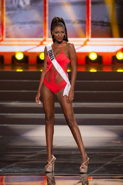 A handout picture provided by the Miss Universe Organization shows Titi Yitayish Ayanaw, Miss Israel 2013, competing in the swimsuit competition during the Preliminary Competition at the Crocus City Hall, in Moscow, Russia, 05 November 2013. (Photo by Darren Decker/EPA)
