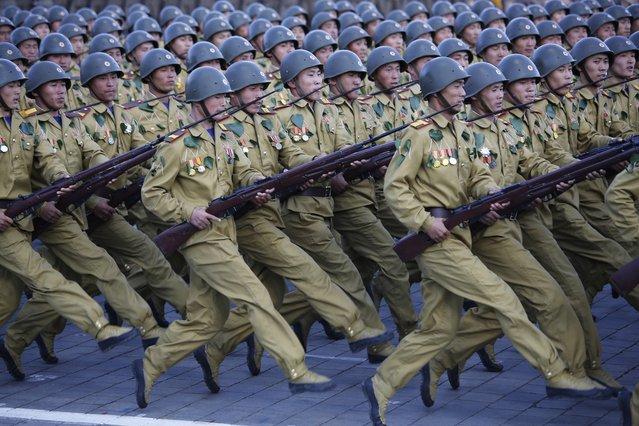 North Korean soldiers parade on Kim Il Sung Square, Saturday, October 10, 2015, in Pyongyang, North Korea. (Photo by Wong Maye-E/AP Photo)