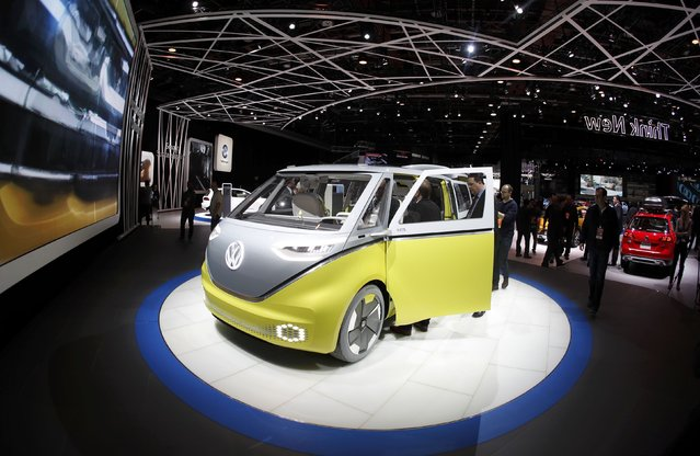 The Volkswagen I.D. Buzz electric concept vehicle is displayed during the North American International Auto Show in Detroit, Michigan, U.S., January 10, 2017. (Photo by Mark Blinch/Reuters)