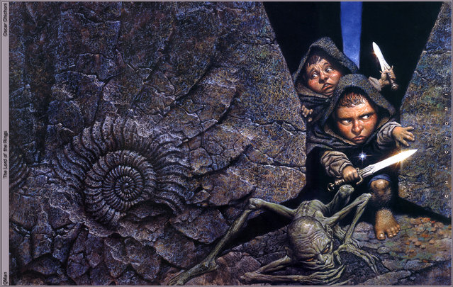 The Lord of the Rings: Gollum and Hobbits. Artwork by Oscar Chichoni