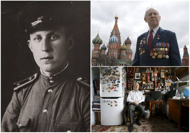 World War Two veteran Boris Runov, 89, is seen in an undated handout picture (L) and posing for a picture in Red Square (Top R), and at home in Moscow, April 14, 2015. Runov served in the sapper company of the Soviet Union army from 1943 until 1945. Originally from Russia, the end of World War Two found him in Germany. (Photo by Sergei Karpukhin/Reuters/Family handout (L))