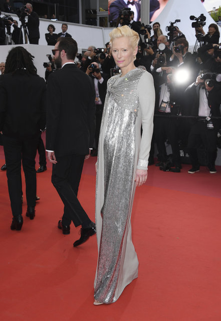 "Actress Tilda Swinton poses for photographers upon arrival at the opening ceremony and the premiere of the film ""The Dead Don't Die"" at the 72nd international film festival, Cannes, southern France, Tuesday, May 14, 2019. (Photo by Arthur Mola/Invision/AP Photo)"