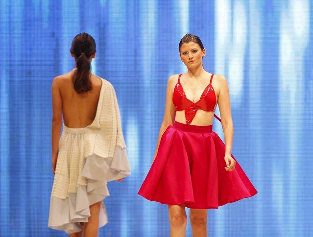 Models present creations by Maltese designer Caroline Hili at the Malta Fashion Awards 2015 at the Marsa Shipbuilding warehouse in Marsa, outside Valletta in Malta, May 16, 2015. (Photo by Darrin Zammit Lupi/Reuters)