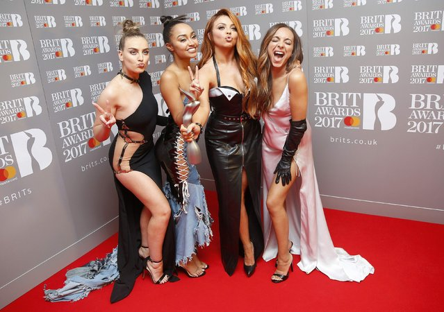 Little Mix hold their the award for British Single at the Brit Awards at the O2 Arena in London, Britain, February 22, 2017. (Photo by Neil Hall/Reuters)
