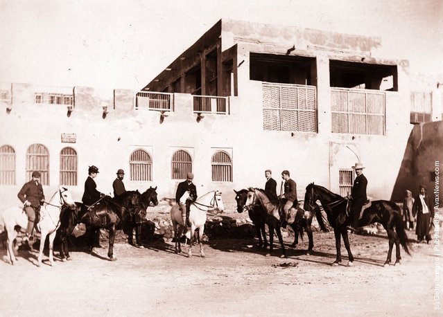 1894: British residents on horseback outside the British Post Office and Residency in the port of Bushire, Iran