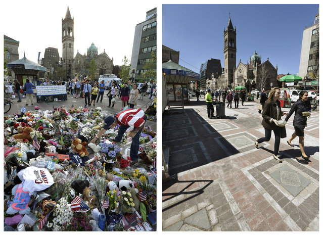 This combination of May 7, 2013 and April 10, 2014 photos shows Kevin Brown placing a Teddy bear at a makeshift memorial near the Boston Marathon finish line in Copley Square, and people walking through the same square at lunchtime nearly a year later in Boston. (Photo by Steven Senne/AP Photo)