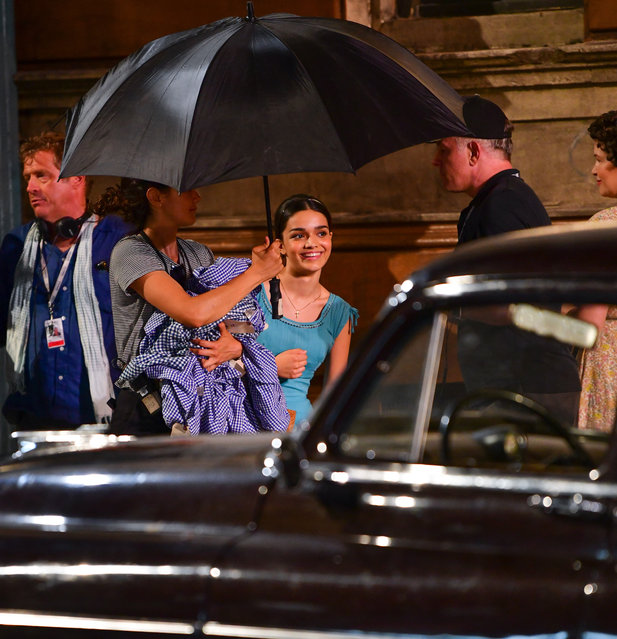 """Rachel Zegler seen on location for """"West Side Story"""" in Washington Heights on August 4, 2019 in New York City. (Photo by James Devaney/GC Images)"""