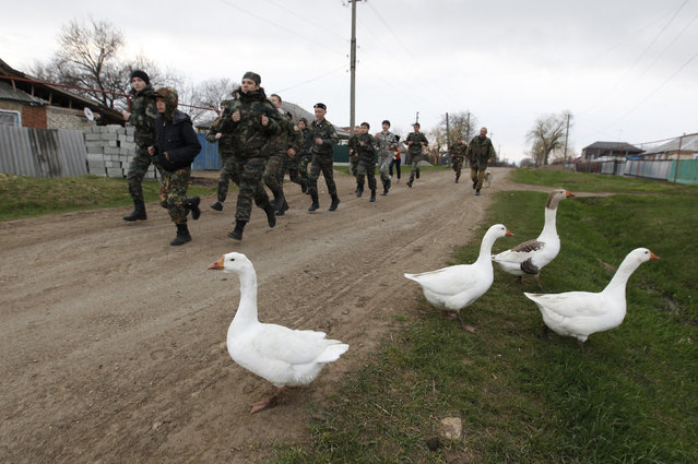 Students from the General Yermolov Cadet School run during a two-day field exercise near the village of Sengileyevskoye, just outside the south Russian city of Stavropol, April 13, 2014. (Photo by Eduard Korniyenko/Reuters)