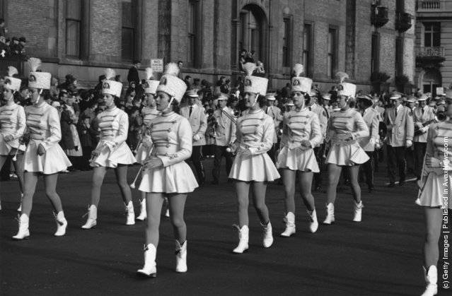 26th November 1961:  A group of majorettes parading in the Thanksgiving Parade near Times Square, New York