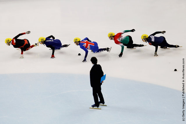 (L-R) Gong Qiuwen of China,Kwak Yoon-Gy of Korea, Richard Shoebridge of Great Britain,Viktor Knoch of Hungary and Elistratov Semen of Russia compete in the Men's 1000m Preliminaries during day three of the ISU World Short Track Speed Skating Championships at the Oriental Sports Center