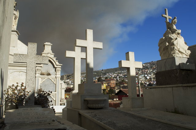 """Great Fire of Valparaíso"". I was recently in Valparaiso Chile when a wildfire got out of control and crossed into the town. The fire destroyed at least 2,500 homes, leaving 11,000 people homeless and unfortunately there was loss of life. This photo was taken from Cemetery No2 and you can see the early stages of the fire before it crossed the ridge. The cemetery was closed but the caretaker unlocked the gate and let me in for 10 minutes. Photo location: Cemetery No2 Valparaiso, Chile. (Photo and caption by Terri Alfonsi/National Geographic Photo Contest)"