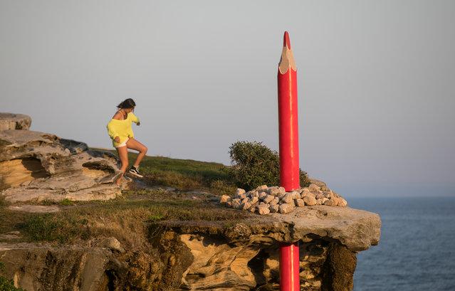 "Sculpture ""More Than It Seems"" by Geraldo Zamproni is seen at Hunter Park, Bondi Beach, Australia on October 24, 2019. (Photo by Jessica Hromas/The Guardian)"