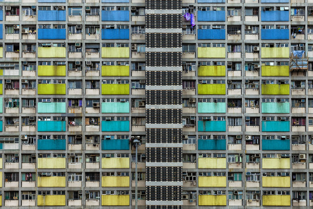 Colorful block of apartments in Hong Kong. (Photo by Peter Stewart/Caters News)