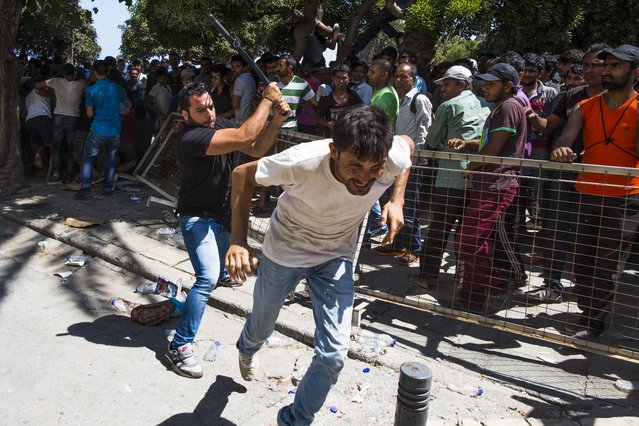A Greek plain clothed policeman chases away Pakistani migrants as they started shouting while waiting to be registered near a police station at the southeastern island of Kos, Greece, Wednesday, August 19, 2015. More than 130,000 migrants have reached Greece so far in 2015, straining the country's resources. (Photo by Alexander Zemlianichenko/AP Photo)