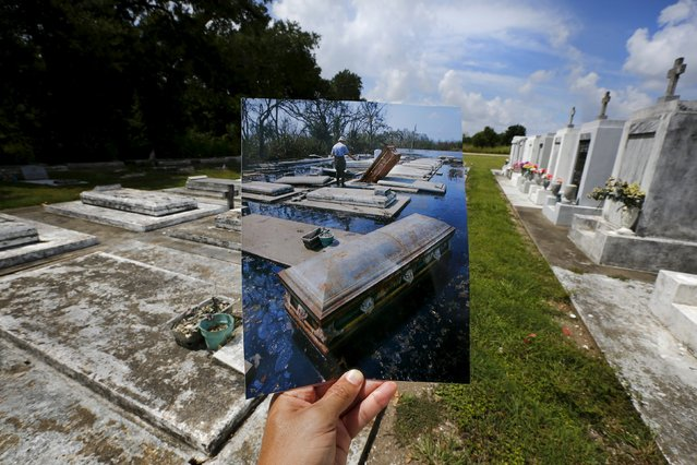 Photographer Carlos Barria holds a print of a photograph he took in 2005, as he matches it up at the same location 10 years on, in New Orleans, United States, August 18, 2015. The print shows coffins removed from tombs, September 10, 2005, after Hurricane Katrina struck. (Photo by Carlos Barria/Reuters)
