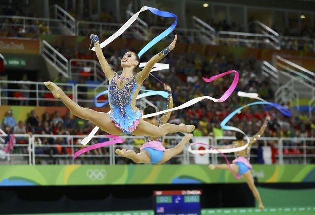 2016 Rio Olympics, Rhythmic Gymnastics, Preliminary, Group All-Around Qualification, Rotation 1, Rio Olympic Arena, Rio de Janeiro, Brazil on August 20, 2016. Team USA (USA) compete using ribbons. (Photo by Mike Blake/Reuters)