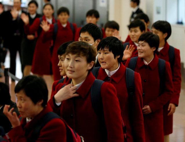 North Korea's women's national soccer team arrive for the EAFF E-1 Football Championship at Haneda international airport in Tokyo, Japan December 5, 2017. (Photo by Toru Hanai/Reuters)