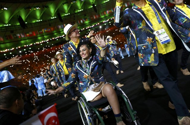 2016 Rio Paralympics, Opening ceremony, Maracana, Rio de Janeiro, Brazil on September 7, 2016. Athletes from Brazil take part in the opening ceremony. (Photo by Ricardo Moraes/Reuters)