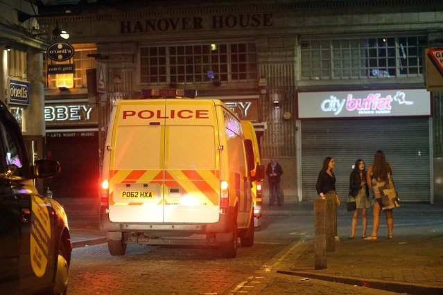 Police presence is heavy in the towns and cities as the Fresher's Week continues and young students head to bars and clubs – here seen in Portsmouth, Hampshire on September 21, 2016. (Photo by Paul Jacobs/PictureExclusive.com)