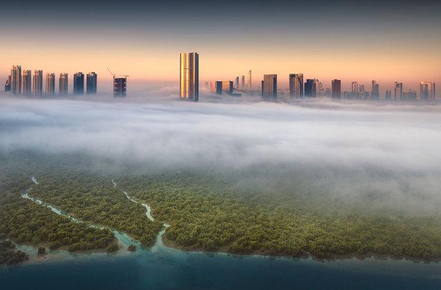 Abu Dhabi skyline. (Photo by Khalid Alhammadi/Caters News Agency)