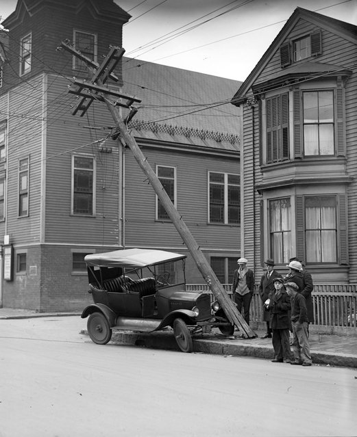 Car hits utility pole in Cambridge, circa 1927. (Photo by Leslie Jones)