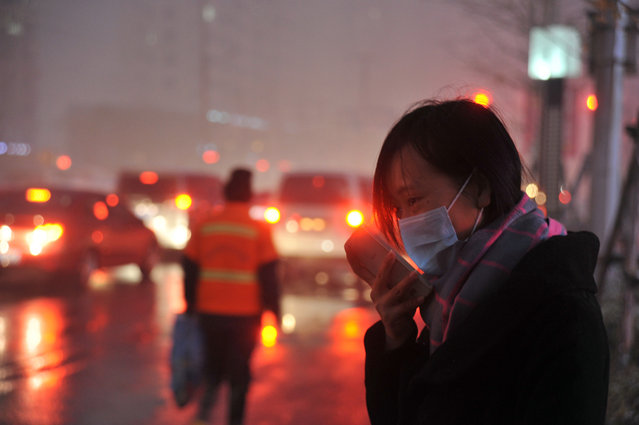 A woman wearing a face mask checks her mobile phone amid a heavy haze in Shenyang in northeastern China's Liaoning province Sunday, November 8, 2015. Air quality reached extremely hazardous levels in the northeastern city of Shenyang on Sunday, as northern China began to burn coal to heat homes for winter. (Photo by Chinatopix via AP Photo)