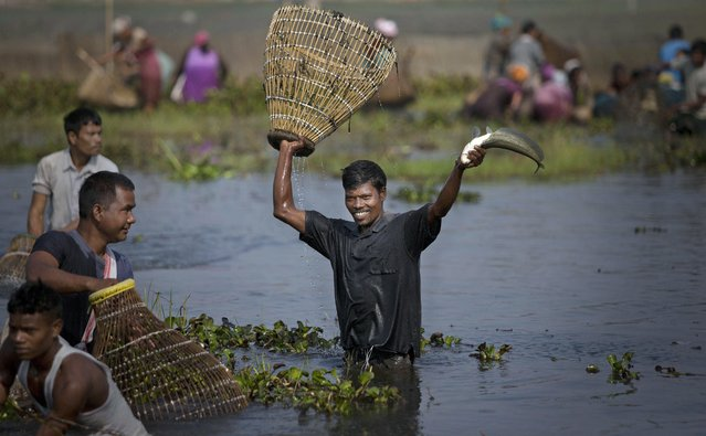A tribal Tiwa man displays his catch during a community fishing event as part of the Jonbeel festival near Jagiroad, India, Friday, January 23, 2015. Tribal communities like Tiwa, Karbi, Khasi, and Jaintia from nearby hills come down in large numbers to take part in the festival and exchange goods through barter rather than money. (Photo by Anupam Nath/AP Photo)