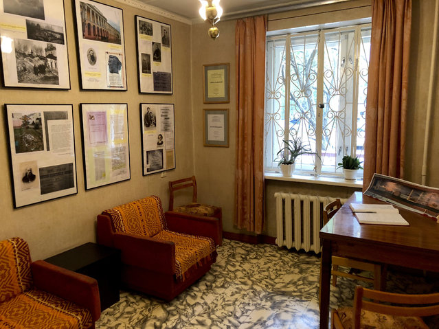 In this photo taken on Saturday, June 30, 2018, the writing room and desk of Soviet dissident scientist Andrei Sakharov in the apartment where he was held under house arrest for seven years in Nizhny Novgorod, Russia. (Photo by Stephen Wade/AP Photo)