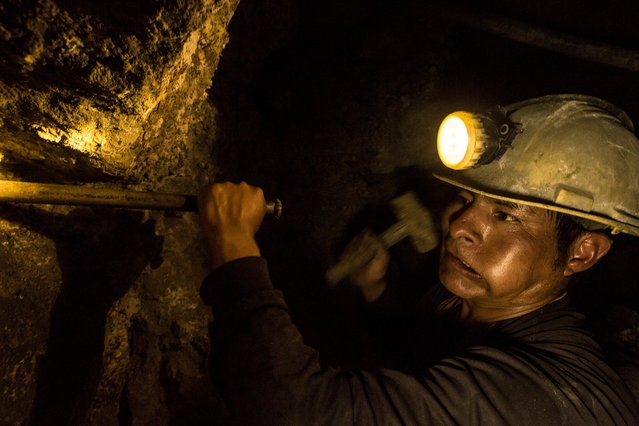 Cerro Rico, Bolivia, 2016. A percussion underground silver miner manually chisels out blast holes for the placement of dynamite deep in Cerro Rico's underground silver mines. In an eight hour shift this miner will be lucky to chisel out between two and four 30 centimetre blast holes. (Photo by Hugh Brown/South West News Service)