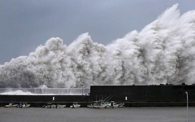 High waves triggered by Typhoon Jebi batter a fishing port in Aki, Kochi Prefecture, western Japan, on September 4, 2018. (Photo by Toru Hanai/Kyodo News via Reuters)