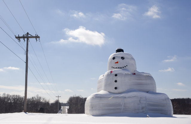 A hay bail snowman smiles from under a dusting of snow, Tuesday, February 17, 2015, in Mechanicsville, Md. Several inches of snow fell in the region closing the federal government and area schools. (Photo by Carolyn Kaster/AP Photo)