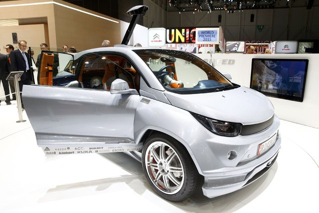 The Rinspeed Budii self-driving city car is seen during the first press day ahead of the 85th International Motor Show in Geneva March 3, 2015. REUTERS/Arnd Wiegmann