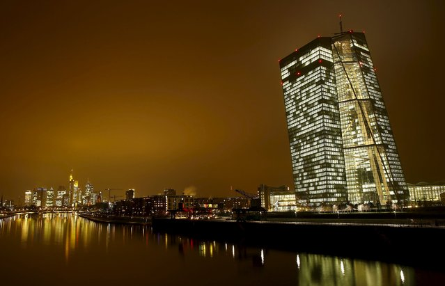The new headquarters (R) of the European Central Bank (ECB) is pictured in Frankfurt, Germany, January 19, 2016. (Photo by Kai Pfaffenbach/Reuters)