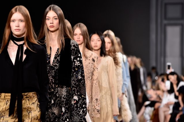 PARIS, FRANCE - MARCH 08:  Models walk the runway during the Chloe show as part of the Paris Fashion Week Womenswear Fall/Winter 2015/2016 on March 8, 2015 in Paris, France.  (Photo by Pascal Le Segretain/Getty Images)