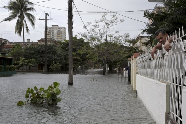 A man looks at a flooded street from his house in Havana January 23, 2016. (Photo by Enrique de la Osa/Reuters)