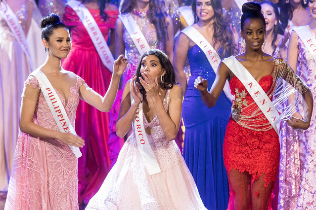 Miss Puerto Rico Stephanie Del Valle (C) reacts after winning in the Grand Final of the Miss World 2016 pageant at the MGM National Harbor December 18, 2016 in Oxon Hill, Maryland. (Photo by Zach Gibson/AFP Photo)