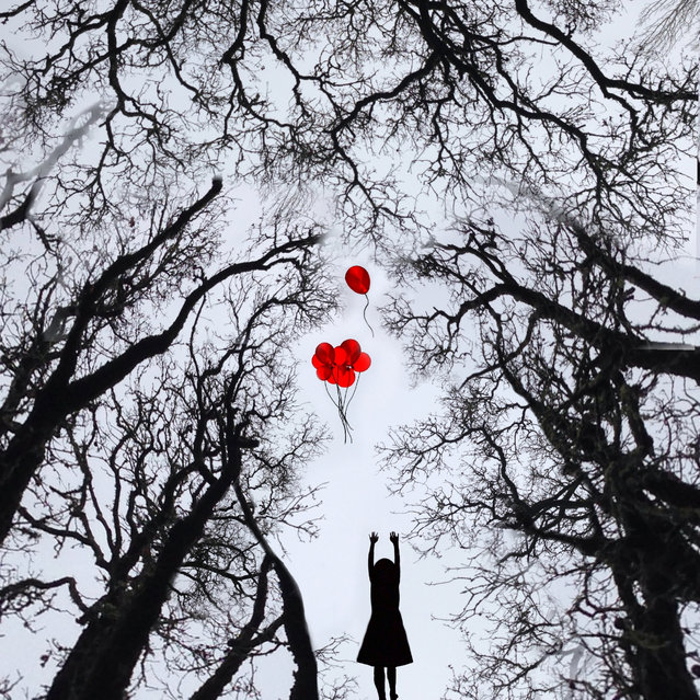 A girl lets go her red balloons in a forest. (Photo by Ali Jardine/Caters News)