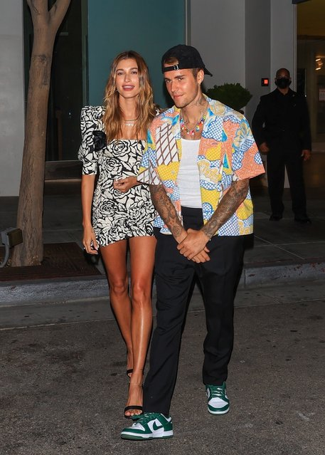 Justin and Hailey Bieber are all smiles after enjoying a dinner date at Spago in Beverly Hills, CA  on August 24, 2021. (Photo by Backgrid USA)