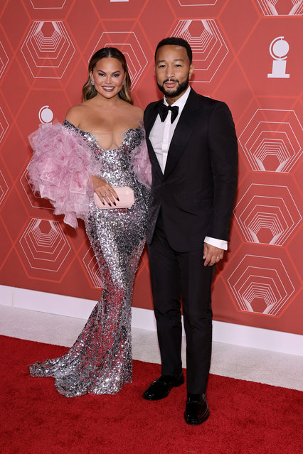 American model and television personality Chrissy Teigen and John Legend attend the 74th Annual Tony Awards at Winter Garden Theater on September 26, 2021 in New York City. (Photo by Jamie McCarthy/Getty Images for Tony Awards Productions)