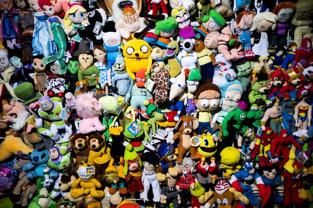 A display of stuffed characters for sale at the 2021 New York Comic Con at the Jacob K. Javits Convention Center in New York, New York, USA, 07 October 2021. The annual event offers pop culture fans exhibitions and displays of popular video games, movies and comic books and many people attend dressed as their favorite fictional character. (Photo by Justin Lane/EPA/EFE)