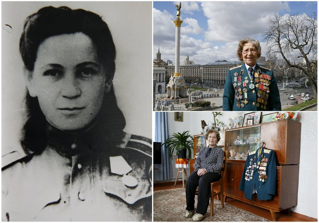 World War Two veteran Valentyna Kucinich, 94, is seen in an undated handout picture (L), posing for a picture in Independence Square in central Kiev (Top R) and at home in Ukraine April 2015. Kucinich served as a nurse in a tank regiment from December 1941 until April 1946. Originally from Ukraine, the end of World War Two found her in Germany. (Photo by Gleb Garanich/Reuters/Family handout (L))