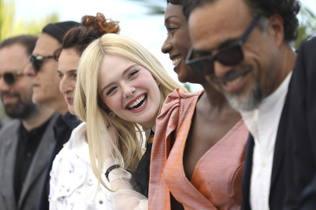Jury members Yorgos Lanthimos, from left, Enki Bilal, Alice Rohrwacher, Elle Fanning, Maimouna N'Diaye and jury president Alejandro Gonzalez Inarritu pose for photographers at the photo call for the jury at the 72nd international film festival, Cannes, southern France, Tuesday, May 14, 2019. (Photo by Vianney Le Caer/Invision/AP Photo)