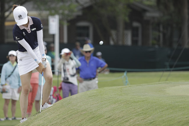 Yu Liu of China, chips to the second green during the final round of the U.S. Women's Open golf tournament, Sunday, June 2, 2019, in Charleston, S.C. (Photo by Steve Helber/AP Photo)
