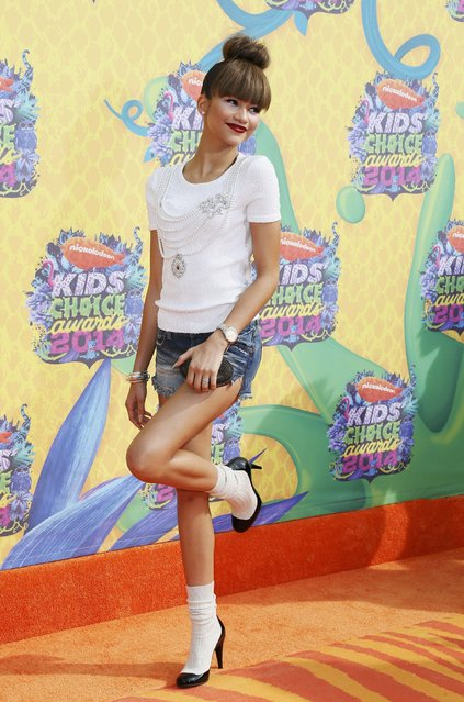 Actress Zendaya arrives at the 27th Annual Kids' Choice Awards in Los Angeles, California March 29, 2014. (Photo by Danny Moloshok/Reuters)