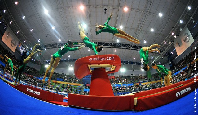Elsa Garcias of Mexico competes in the Women's Artistic Gymnastics Vault Finals during Day 13 of the XVI Pan American Games
