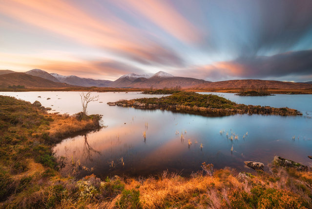 Rannoch Morr in North West Scotland could be mistaken for an exotic location with its stunning sunset. (Photo by Alessio Putzu/Caters News Agency)